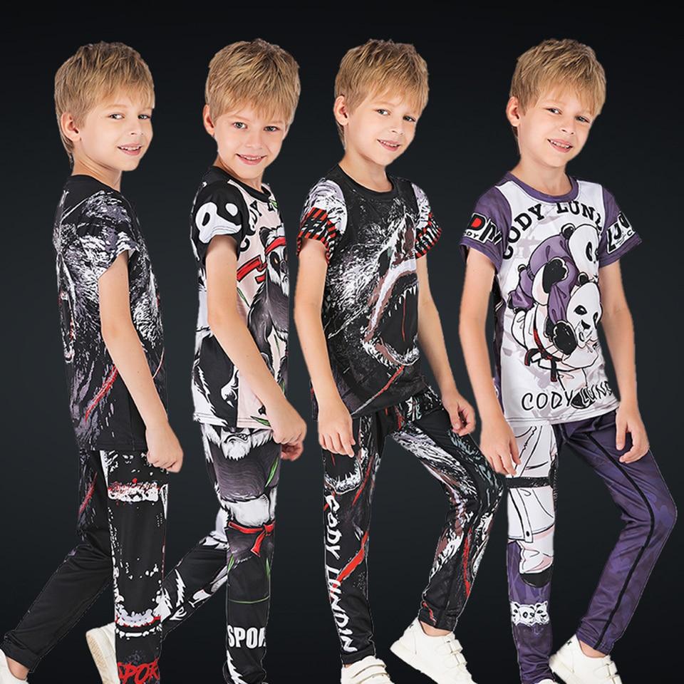 Boxing MMA Rashguard Jiu Jusit Sets For Children MMA T-shirts +pants Short Sleeve Muay Thait Kid's Sportsuits Gym Bjj Fightwear