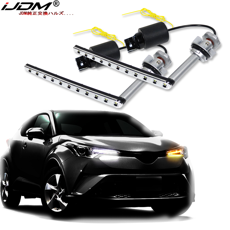 IJDM BAU15S LED DRL Turning Flashing Signal Yellow Light For Toyota C-HR 2017-19 Daytime Running Light For CHR 2019 ACCESSORIES
