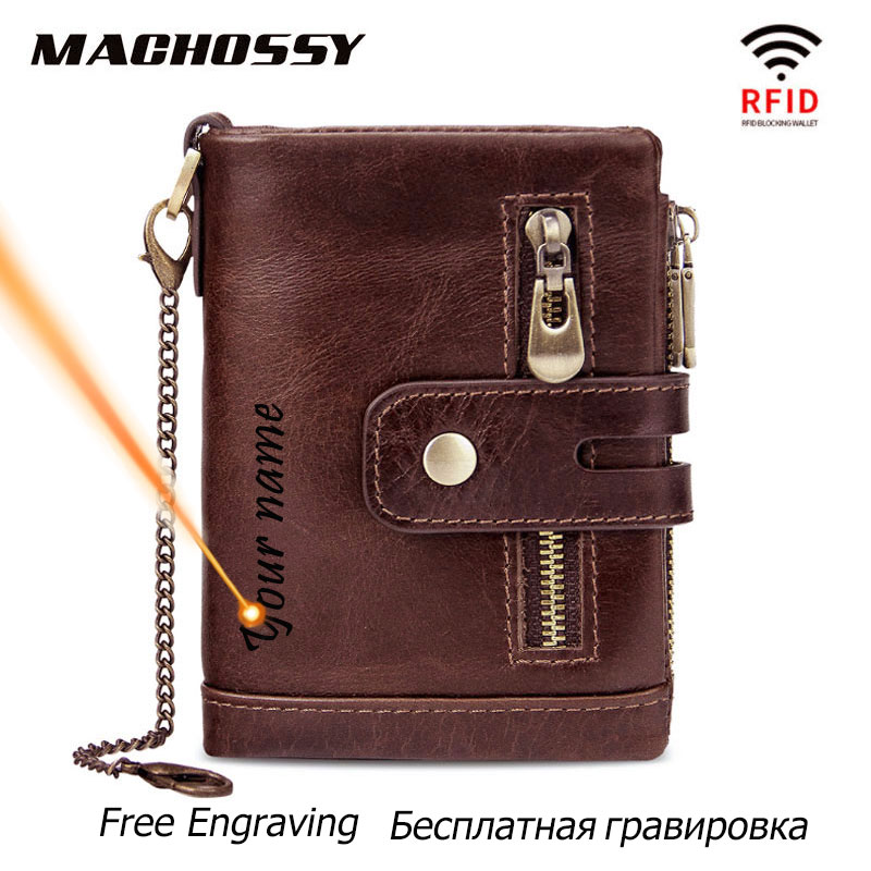 RFID 100% Genuine Leather Men Wallet Coin Purse Small Mini Card Holder Chain PORTFOLIO Portomonee Male Walet Pocket