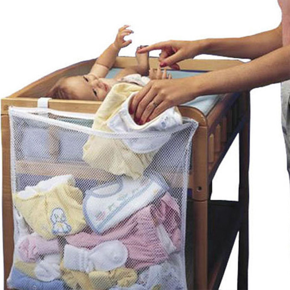 Baby Crib Mesh Bag Newborn Bedside Pouch Bumper Infant Diaper Organizer Pouch Toddler Clothes Container New