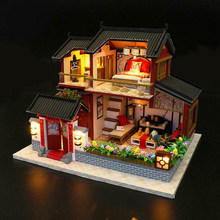 3D Gift Toy Bright Color DIY Assemble Chinese Style House Model Kit Exquisite Build Miniature Wooden LED Lighting Children(China)