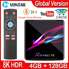 X88 PRO X3 akıllı Android TV kutusu Android 9.0 Amlogic S905X3 Set üstü kutusu 4K @ 60fps 2GB/4GB RAM 128G/64G/32G/16G ROM 8K medya oynatıcı