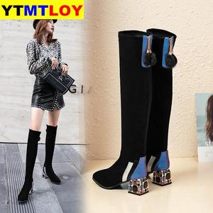 HOT Fashion Design Boots Women's Mixed Colored Sexy Round Toe Square Heel Crystal Shoes New Large Size Stretch Snow Boots Flock