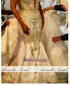 Image 4 - Novo modelo cetim sereia vestido de casamento com trem destacável