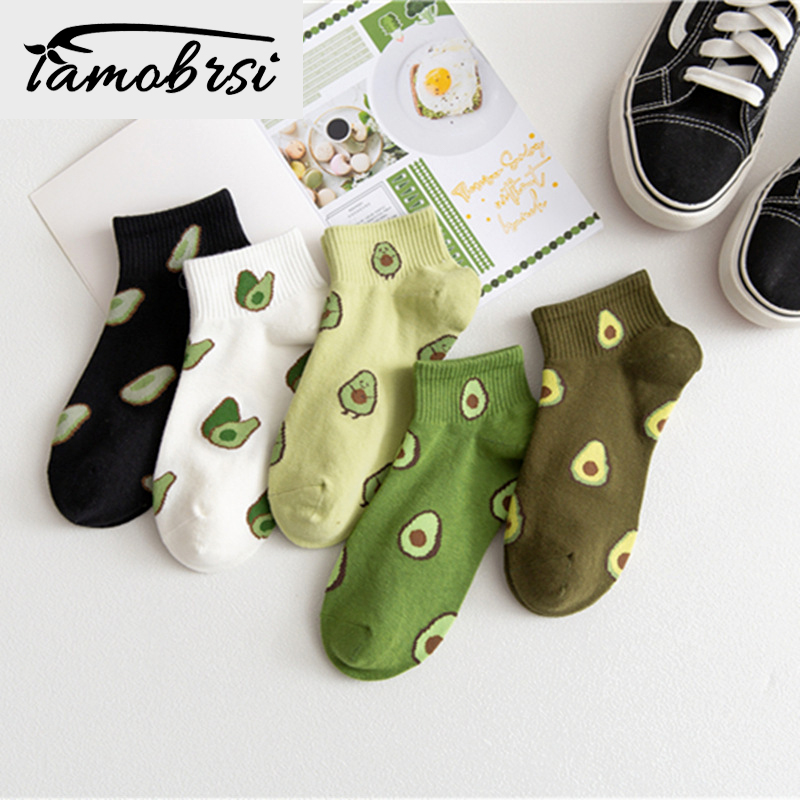 5 Pairs/lot Female Boat Socks Fruit Embroidery Avocado  Socks Happy Cotton Ankle Funny Men Women Summer Casual Socks Wholesale