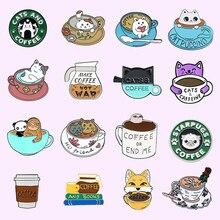 Seria motywów kawy miękkie szpilki emaliowane niestandardowe kubki koty broszki z motywem zwierząt Cartoon odznaki przypinka biżuteria prezent dla przyjaciół hurtowych