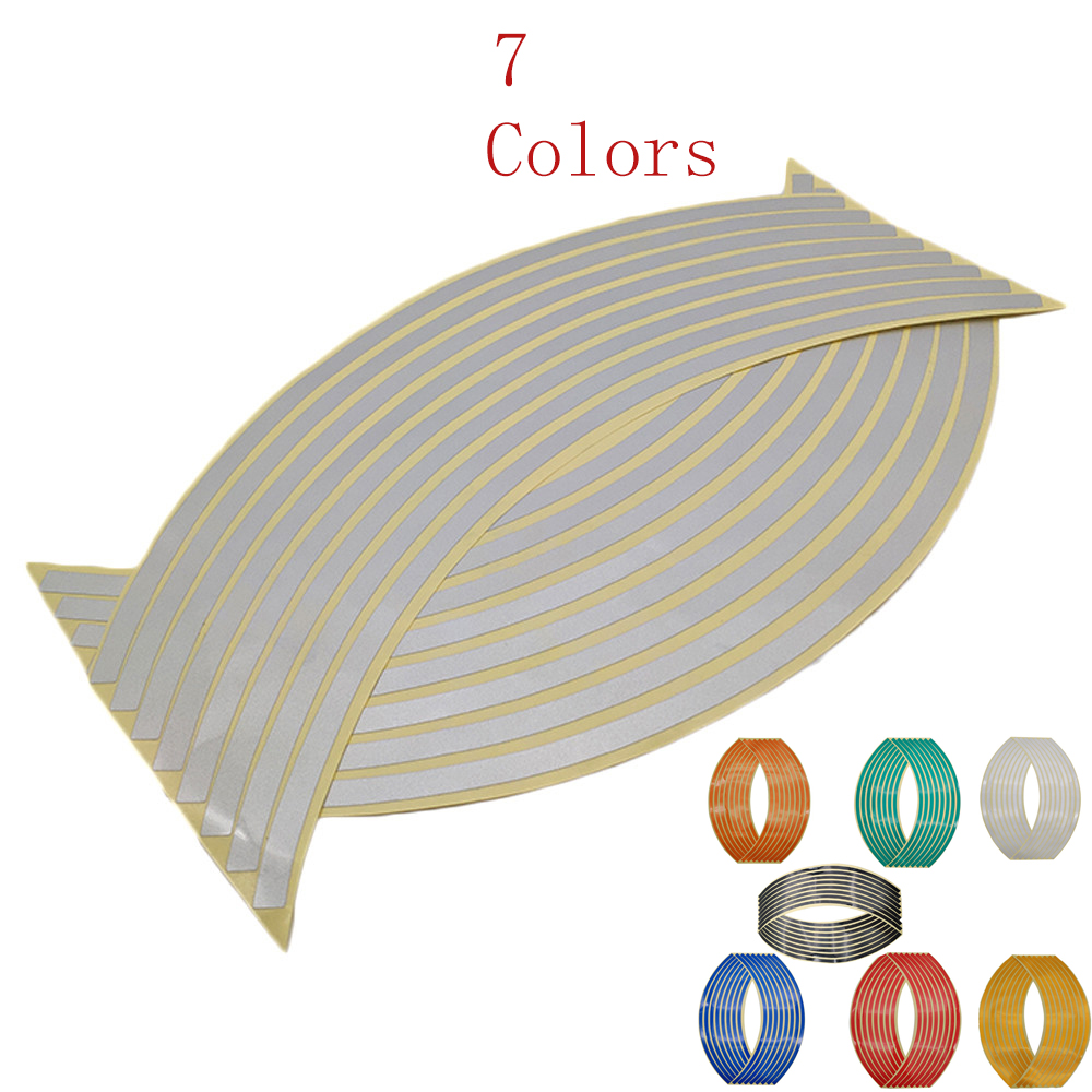 16Pcs Motorcycle Car Wheel Tire Stickers Reflective Rim Tape Moto Auto Decals For Suzuki Gsxr 1000 1100 400 600 750 VS800