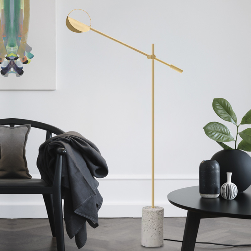 Modern Minimalism Stone Terrazzo Floor Lamp With Gold Black Plated Iron Swing Arm Led Floor Light For Bedroom Living Room