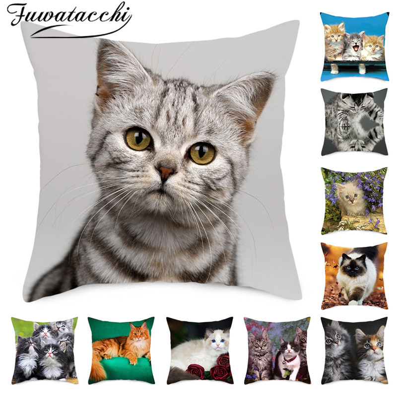 Fuwatacchi Cute Cats Pillowcases Anilmals Pattern Throw Pillow Covers For Home Sofa Polyester Decorative  Cushion Cover 45*45cm