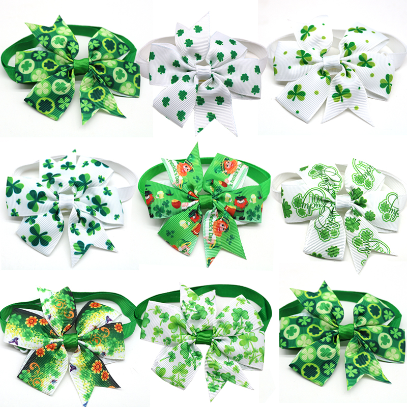 30 Pcs Pet Dog Cat Bow Tie St Patrick's Day Green White Dog Bow Tie Adjustable Pet Collar Bow Tie Necktie Dog Accessories