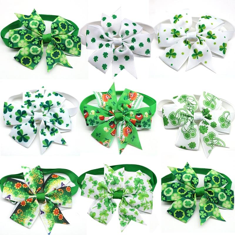 30 Pcs Pet Dog Cat Bow Tie St Patrick's Day Green White Dog Bow Tie Adjustable Pet Collar Bow Tie Necktie Dog Accessories