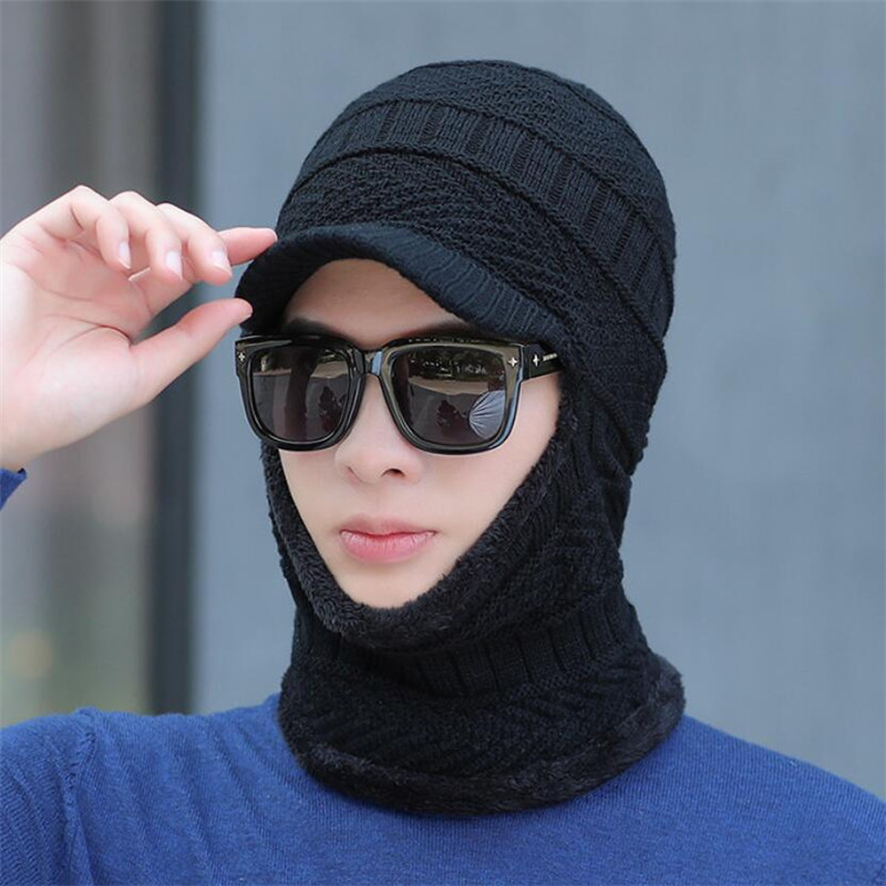 Winter Knit Hat Scarf Set Men Women Warm Plush Hooded Hat Scarf With Brim Male Visor Beanies Adult Solid Wavy Cap Ring Scarves
