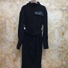Новое осенне-зимнее женское платье с микропуговицами и поясом 1011