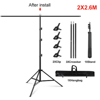 1.5/2/2.6M*2M T-Shape Backdrop Stand With Green Screen Photo Background Support For Birthday Portrait Photo Studio Photography 9