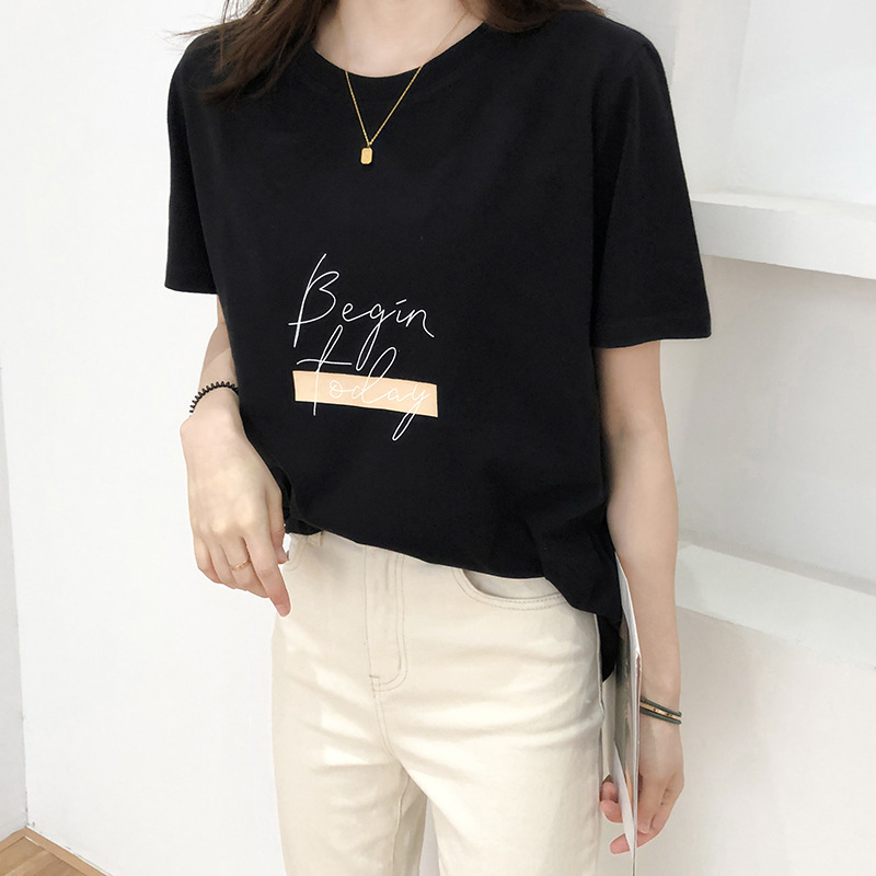 Hc3154071bdcc47c48dc59141362d1b84x - Letter Women T-Shirt O Neck Short Sleeve Loose Casual Pure Cotton Girls Spring Thick Pullovers Femme Fashion Clothings