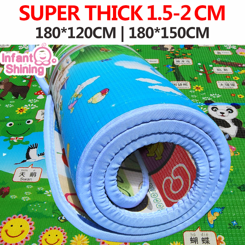 Infant Shining Baby Play Mat Toy Crawling Puzzle Thick Play Mats 200 180 3CM Two Sided