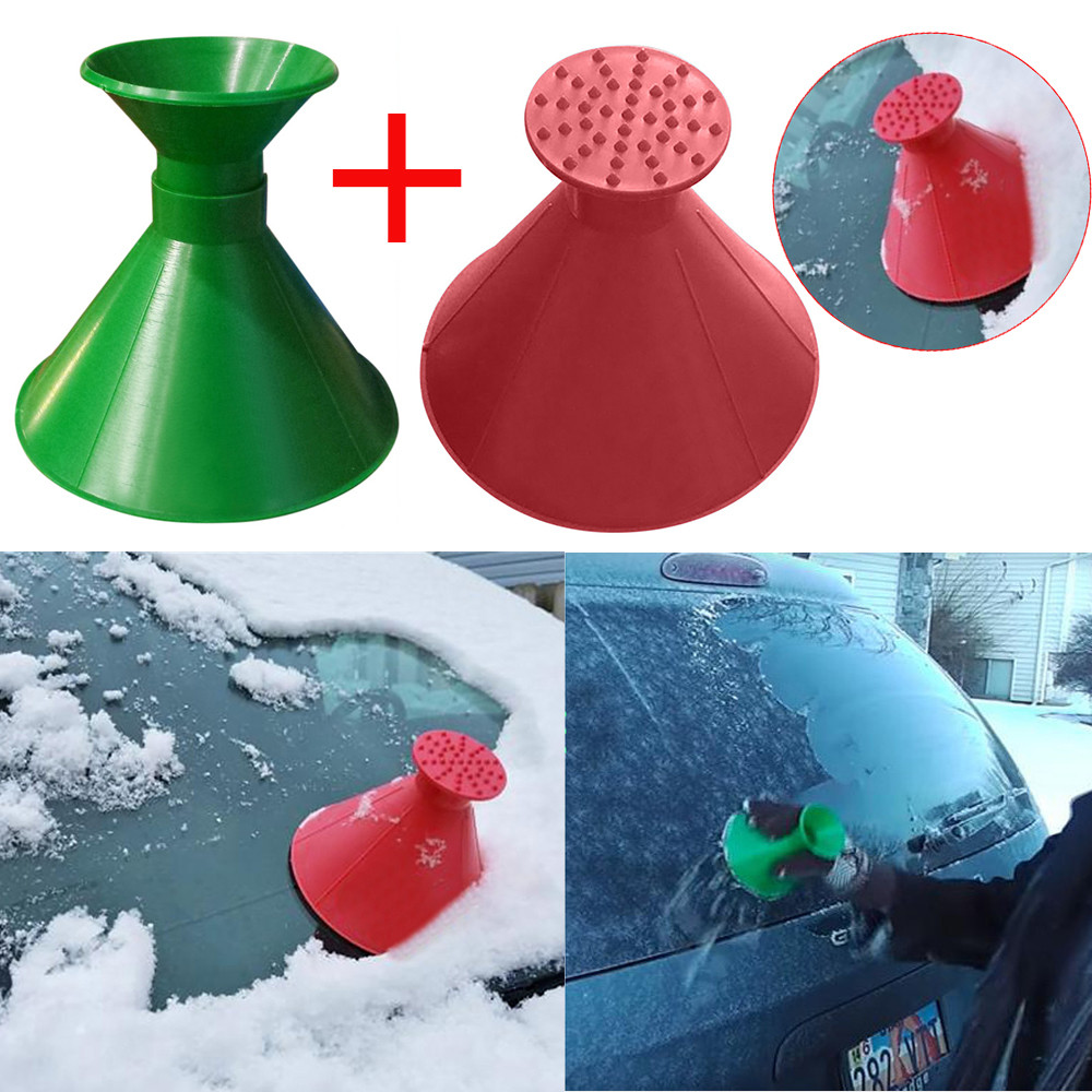 2PAuto Car Magic Window Windshield Car Ice Scraper Shaped Funnel Snow Remover Deicer Cone Deicing Shovel Tool Scraping ONE Round