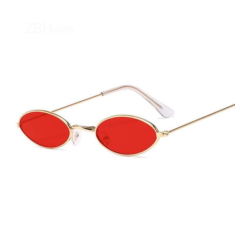 Retro Small Oval Sunglasses Women Vintage Brand Shades Black Red Metal Color Sun Glasses Female Fashion Designer Lunette