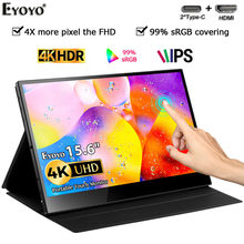 Eyoyo EM15KF 4K Draagbare Gaming Monitor Touchscreen Sensor Automatische Draaien 15.6 ''10 Point Touch Uhd 3840X2160 vesa Pc Display(China)