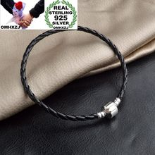 925-Sterling-Silver Bracelet Wedding-Gift Fashion Chain Man OMHXZJ Black Party BR18 Wholesale