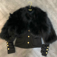 Winter Real Natural Jacket Women Cardigan Coat New Round Neck Long Sleeve Fox Fur Button Cardigan Two piece Ladies Streetwear
