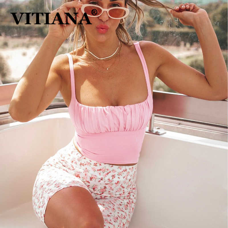 Vitiana mulheres curto sexy clube rosa camis verão 2020 feminino sem mangas strapless festa praia colheita topo femme streetwear topos