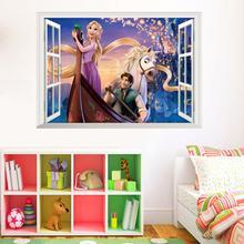 Dinsey Мультфильм Рапунцель наклейка s для детской комнаты детская Девичья Спальня Декор настенные наклейки 3D наклейки на окна Плакат Фреска