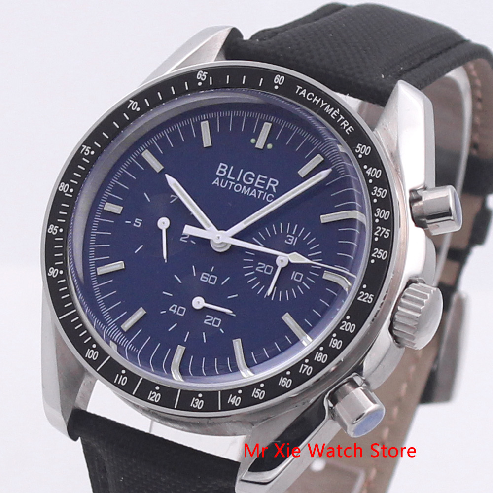 Bliger 40mm Men's Watch Leather Strap Date & Week Function Luminous Waterproof Automatic Mechanical Sport Wristwatch Men