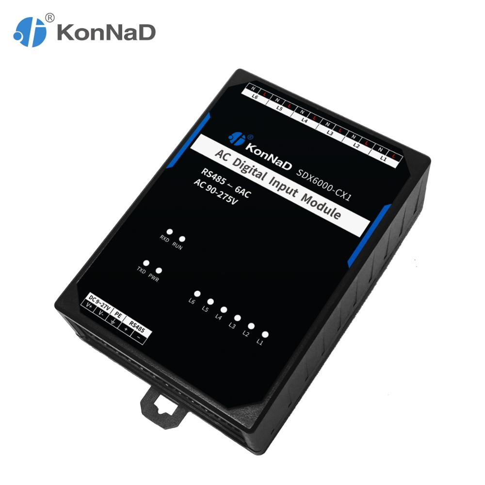 RS485 6AC 90-275VAC 1500Vrms Channel-isolation Design Modbus RTU AC On-off State Acquisition KonNaD