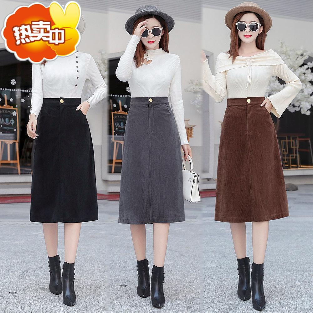 2019 New Style Autumn Fashion Corduroy Skirt Thick A- Line Skirt High-waisted Mid-length Skirt Skirt Fashion