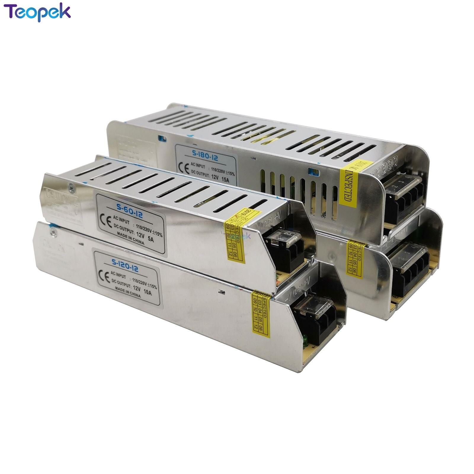 Longo forma Magro Interruptor LED Power Supply DC12V 3A 5A 8.5A 10A 12.5A 20A 30A Para Tira CONDUZIDA Transformador de Luz