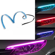 цены 2Pcs/Set 12V 45cm 60cm Flexible Car DRL Led Daytime Running Lights Turn Signal Strip Headlight Assembly Auto Lamps Car Styling