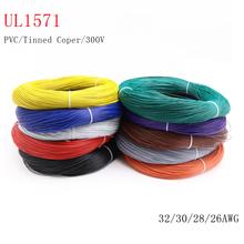 5M 10M UL1571 32 30 28 26AWG PVC przewód elektroniczny elastyczny kabel izolowany cynowany miedź środowiskowa linia ledowa kolorowy tanie tanio CN (pochodzenie) Miedziane ze skrętek Napowietrzne Izolowane 300V -30Deg C ~ 80Deg C Tinned-Copper