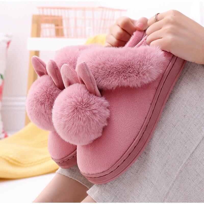 Hc316492e0d9b434abe1770f881b5d4bcF Chinelos de inverno feminino de veludo neve chinelo indoor casa sapatos plus size senhoras macio conforto sapatos peludo orelhas coelho pelúcia