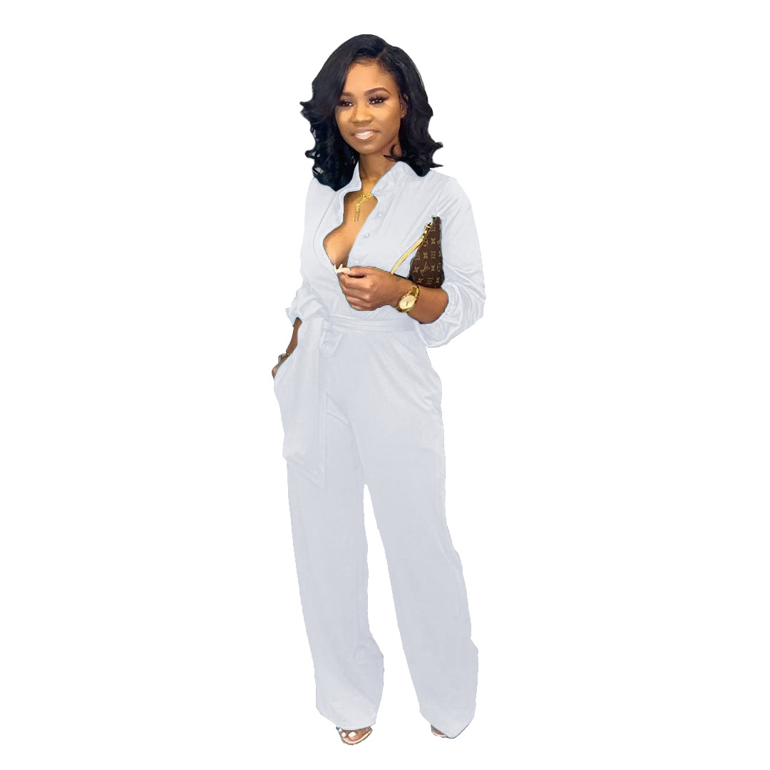 Wide Leg Pants Casual Soild Female Long Jumpsuit 2019 Long Sleeve Sutumn Romper Sexy V Neck Women Jumpsuit With Sashes