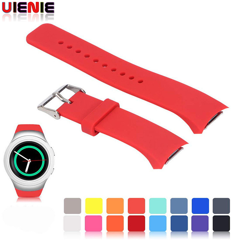 UIENIE Pure Color Silicone Watch Band With Connector Adaptor For Samsung Gear S2 RM-720 Bracelet Wrist Strap Correa Watchband
