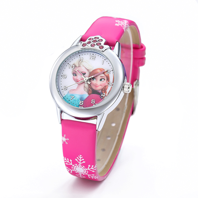 JOYROX Princess Elsa Pattern Girls Watch Cartoon Spiderman Boys Watches Leather Strap Wristwatch Kids Clock Reloj De Mujer