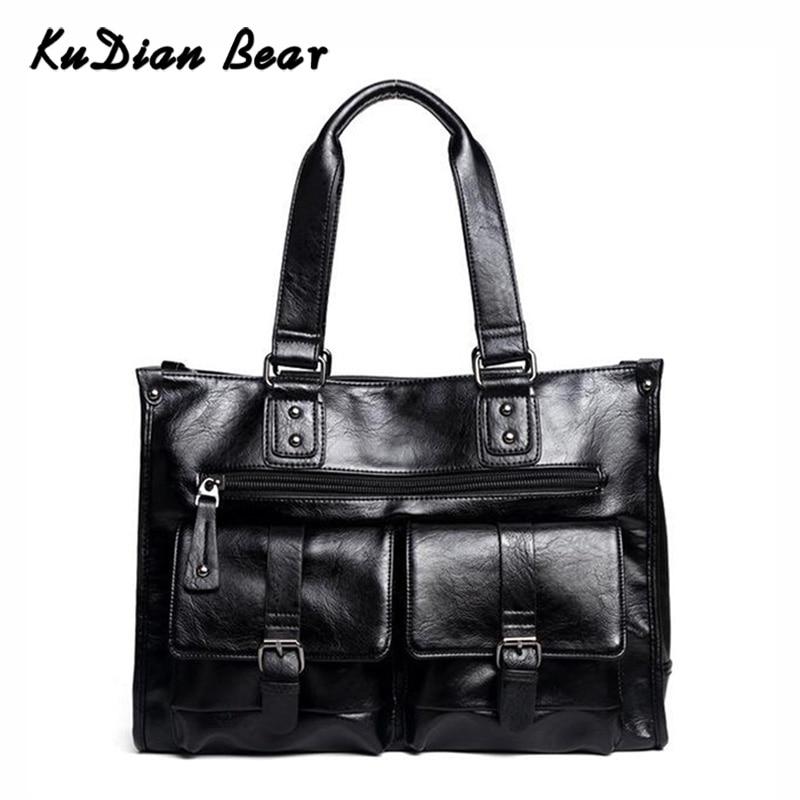 KUDIAN BEAR Men Briefcase Bag Waterproof PU Leather Business Shoulder Bags Male Luxury Brand Office Handbags Bolsa BIX356 PM49