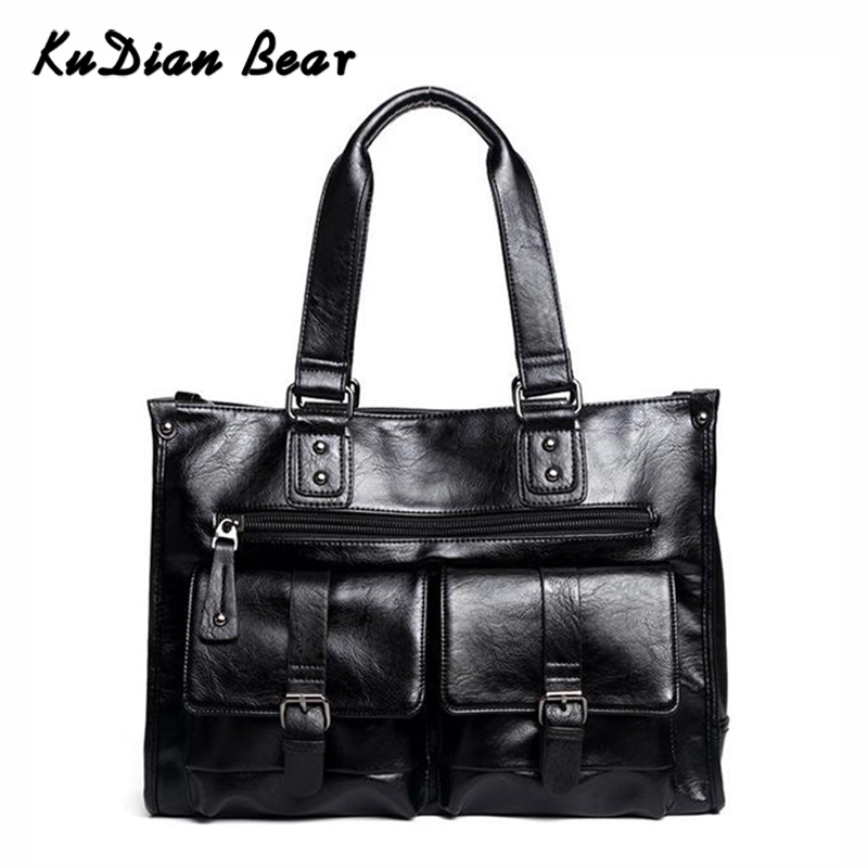 KUDIAN BEAR Men Briefcase Bags Waterproof PU Leather Business Shoulder Bags Luxury Brand Office Handbags Bolsa BIX356 PM49