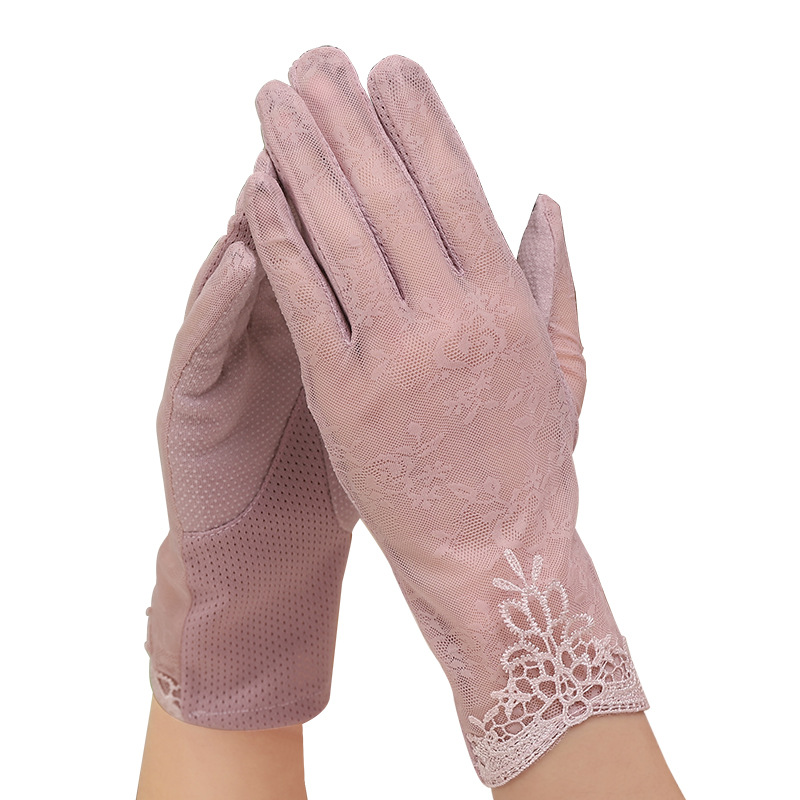 Sexy Summer Women UV Sunscreen Short Sun Screen  Flowers Gloves Thin Ice Silk Lace Touch Screen Lady Viscose Driving Gloves J50