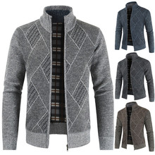 Autumn Spring Winter Men Solid Patchwork  Polyester Casual Sport Fashion Zipper Cardigan Sweater Comfortable Jacket H0904