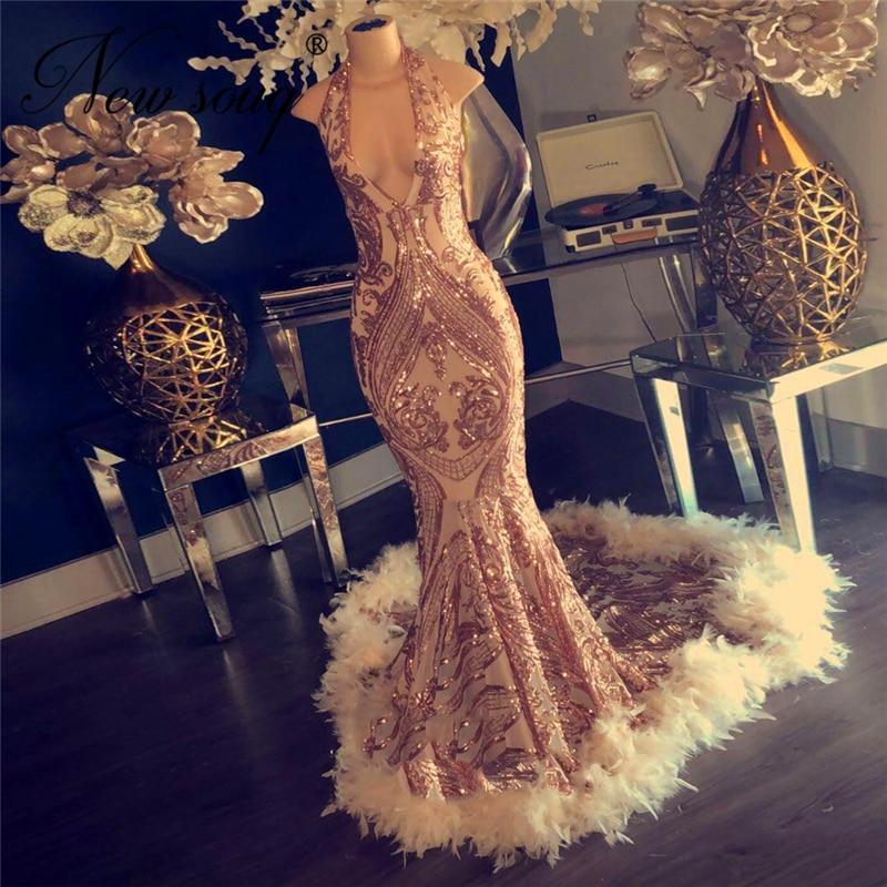 2020 Couture Feathers Evening Dress With V Neck Mermaid Abendkleider Dubai Prom Dresses Vestido De Festa Kaftans African Party
