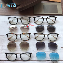 IVSTA Top Quality TF 720 Clip On Glasses Clips Flip Up Women Prescription Eyewear Optical Frame Cat Eye Lady Fashion Vintage Pink Mirror UV400 Myopia for Sight optometry Luxury Brand Designer Tom Cats Men female Blue