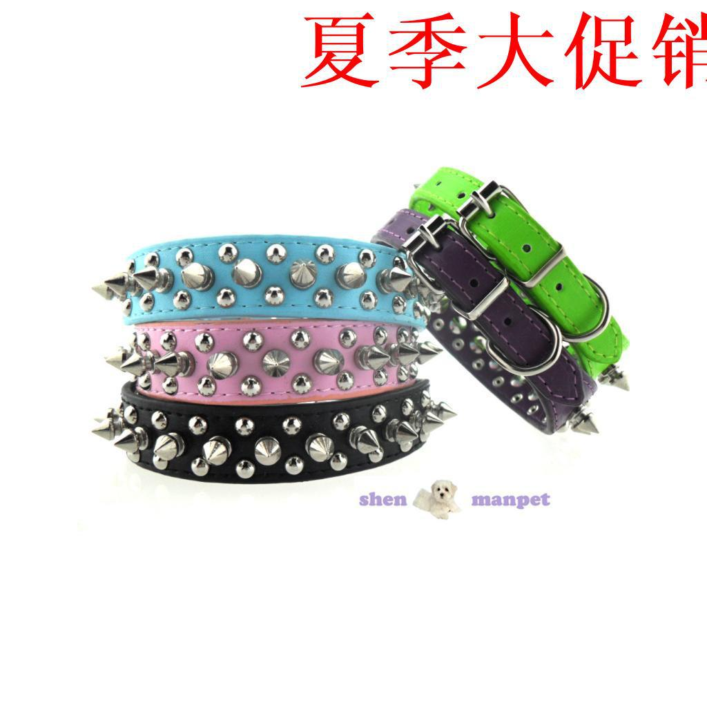 Hot Selling Classic Dislocation Spike On Both Sides Of Small Wire Nail PU Pet Collar Dog Neck Ring