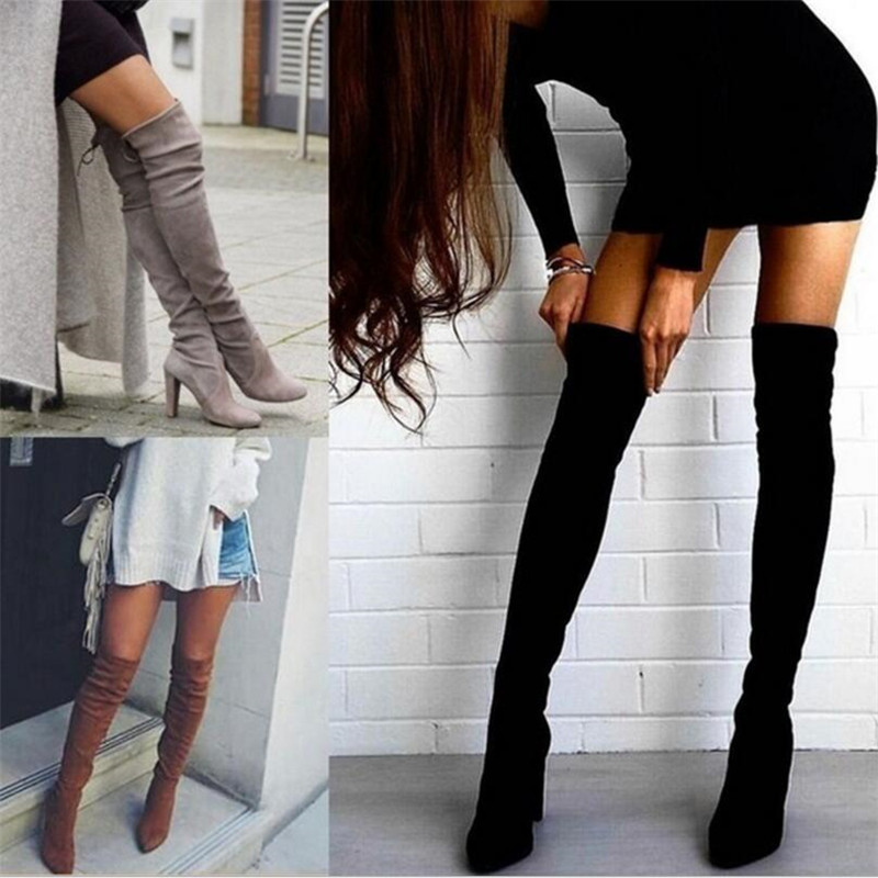 Женские теплые сапоги; коллекция 2019 года; сезон осень зима; новые сапоги выше колена на молнии с острым носком; эластичные сапоги; женская обувь