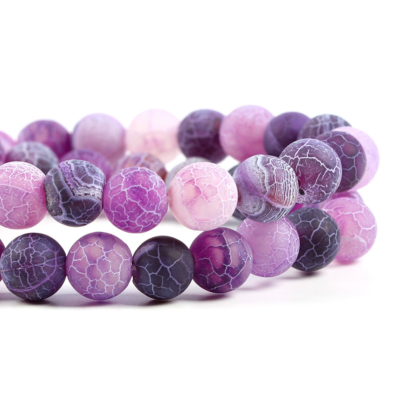 Natural Stone Purple Matte Frost Cracked Dream Fire Dragon Veins Agates Round Beads for Jewelry Making DIY Handmade Bracelet