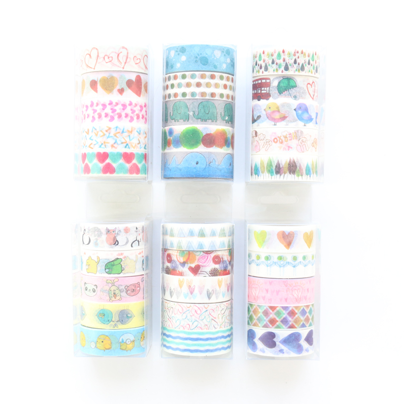 Domikee Cute Japanese Cartoon Decoration Maksing Tapes For Diary Planner Notebook,kawaii Masking Tape For DIY Craft,15mm*5m,4pcs