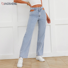 Hollow Out Jeans Women 2021 Mom Jeans High Waist Denim Trousers Fashion Baggy Straight Pants Sexy Boyfriend Jeans Y2k Streetwear