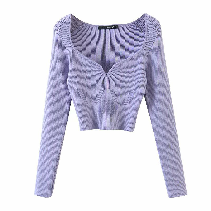 Sweater Pullovers Short Square-Collar V-Neck Knitted Long-Sleeve Women New-Fashion Loose