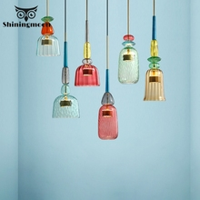 Modern Colorful Candy LED Pendant Lights Nordic Living Room Decoration Kitchen Hanging Lamps Dining Room Cafe Loft Pendant Lamp nordic wrought iron round led pendant lamp lighting modern creative pendant lights bedroom dining kitchen living loft room lamps